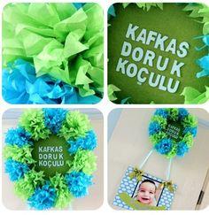 Door baby room blue green baby babyboy babyshower kapı süsü bebek odası yeşil mavi pompom ponpon tissuepaper handmade diy craft elişi elyapımı