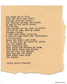 Typewriter Series #955 by Tyler Knott Gregson *It's official, my book, Chasers of the Light, is out! You can order it through Amazon, Barnes and Noble, IndieBound , Books-A-Million , Paper Source or Anthropologie *