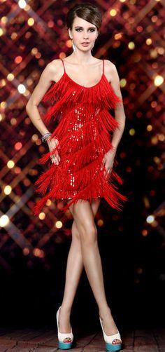 Fringe Dress For Latin Dance Red