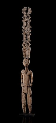 Aloala, Madagascar, Mahafaly. The aloalo are wood posts sculpted with a height ranging from 1,50 m to 1,80 m & planted on the top towards the east. Sculls of zebus sacrificed during the funerals can last weeks along with familiar objects of the deceased. They include geometric sculptures with an openwork design on their trunk & sculpted figurines on the top recalling the personality of the deceased, cherished possessions, scenes from everyday life, zebus, birds etc.