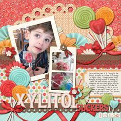 How FUN that we came across this scrapbook layout featuring our lollipops!  Great job, the layout is gorgeous!  xylitol suckers - Scrapbook.com created by Mamabee rebecca(22-Mar-12) Wendy Schultz onto Digital Art.