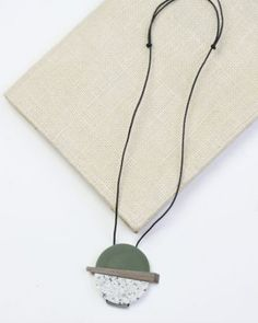Green Resin and Wood Pendant Necklace
