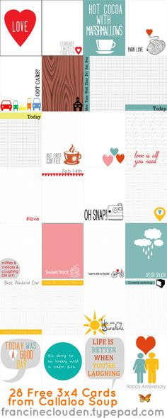28 FREE Cards from Callaloo Soup to use for Project Life, smash books, mini albums, journals, art journaling and even decor Project Life Freebies, Project Life Cards, Project Life Planner, Project Life Layouts, Printable Planner, Planner Stickers, Free Printables, Life Journal, Journal Cards