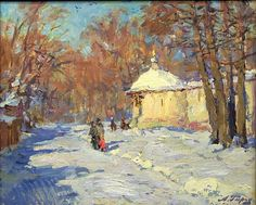 At the Cloister Walls  winter landscape - oil painting