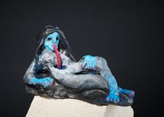 Marlene Steyn, 'Self-slurpstress (with straw)' Air-drying clay, oil paint and plastic straw, 11 x 20 x Air Dry Clay, Lion Sculpture, Plastic, Oil, Statue, Painting, Animals, Animales, Animaux