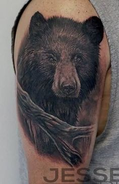 Black Bear Face Tattoo On Shoulder