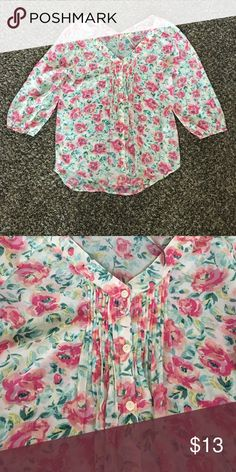 Floral Blouse Light weight floral Blouse. 3/4 length sleeves. LC Lauren Conrad Tops Blouses