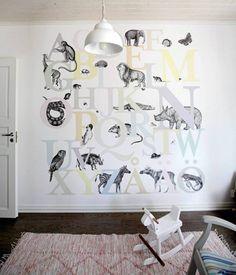Kimara-talon lastenhuone on somistettu erityisen kauniiksi. Yhdellä huoneen seinällä on eläinaiheinen MR. Perswallin ABC-tapetti.