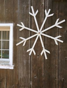 This rustic 48 snowflake is hand painted using exterior paint, perfect to adorn your house, garage, barn or fence. As with real snowflakes each one of ours is slightly different. Snowflake will arrive assembled, all you have to do is fan it out and tighten the screw. Also availabe in...