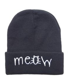 2fa7a87b4e5 MEOW Beanies Hats Hip-Hop wool winter Cotton knitted warm caps Snapback hat  for man and women
