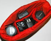 Camera Bag insert DSLR for your purse, padded slr carrier...Carry everything In One Bag, by Seasons Totes. $38.00, via Etsy.