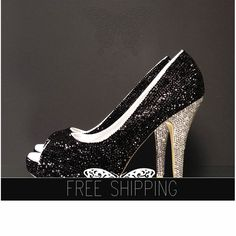 1. Top quality crystals, image: Black/Clear2. 4,500 crystals hand applied on shoes3. Featured heels: nbsp;5 heels, 1 1/4 platforms 4. 100% handmade, breathtaking quality!5. 15 DAYS PROCESSING + shipping time