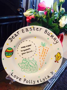 Personalised, Hand-painted Easter plate. Up to 4 names. https://www.etsy.com/listing/223594590/hand-painted-personalised-easter-plate