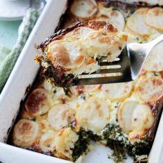 Spinach, Feta, and Potato Gratin