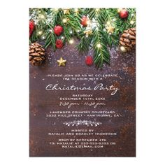 Rustic Country Christmas Holiday Winter Wedding Card Rustic winter wedding invitations featuring a dark wooden background, festive christmas tree branches, red & gold tree decorations and string twinkle lights. Country Christmas Trees, Merry Christmas, Rustic Christmas, Christmas Themes, Christmas Holidays, Christmas Cards, Holiday Cards, Christmas Dinner Party Decorations, Country Holidays