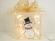 Lighted Glass Block Snowman 5 3/4 x 5 3/4 x 3 1/4 Hand Painted. $35.00, via…