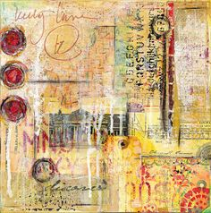 Kelly Luna Original Art - Abstract Mixed Media Collage in Yellows and Reds - Vintage Ephemera, Book Paper, Painted Tag