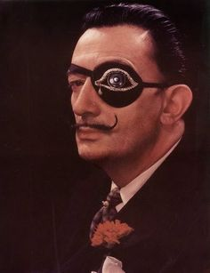 Salvador Dali and his eyepatch eye patch jewels jeweled diamond art artist surreal surrealism style