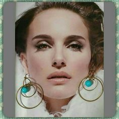 Beautiful golden earrings Handmade gold tone hoop earrings with turquoise color ball design. Jewelry Earrings