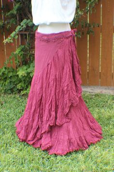 Burgundy long tiered crinkle wrap skirt with crochet waist