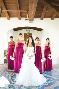 orchid color bridesmaids dresses captured by Aga Jones Photography http://www.weddingchicks.com/2014/03/03/crosby-club-wedding-aga-jones-photography/