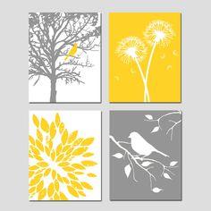 Amarillo gris arte Quad Set de cuatro 8 x 10 láminas por Tessyla