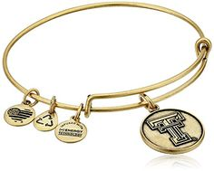 Alex and Ani Texas Tech University Logo Expandable Rafaelian Gold Bangle Bracelet * Details can be found by clicking on the image.