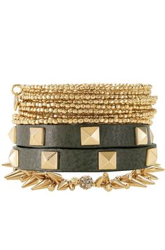 Stella and Dot from top to bottom : Bardot bangle $59, green pyramid double wrap $59, renegade cluster bracelet $59
