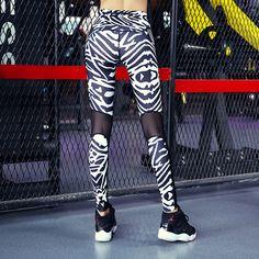 Zebra Stripes Print Leggings Mesh Splice Top Quality Women Leggings Sporting Fitness Sexy Slim Pants Female Fashion Clothing