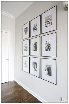 How to hang a symmetrical gallery wall in your hallway to make a statement on a blank wall. Tips to get the frames hung just right so everything is level! wall Tips to Hang a Symmetrical Gallery Wall in your Hallway Diy Wall Decor, Diy Home Decor, Hall Wall Decor, White Wall Decor, Wall Decor Frames, Accent Wall Decor, Art Frames, Love Frames, Wall Decorations