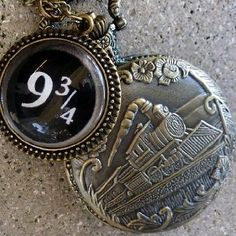 Amazon.com: Magical Express Train Platform 9-3/4 Style Necklace Fantasy Steampunk Pocket Watch Pendant Charm Victorian: Everything Else