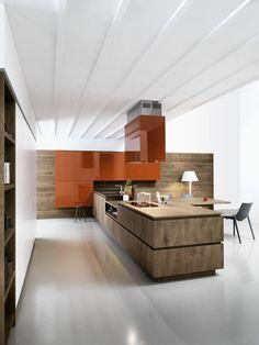 Oak fitted kitchen without handles CLOE 03 - CESAR ARREDAMENTI