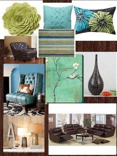 blue greens and browns for living room