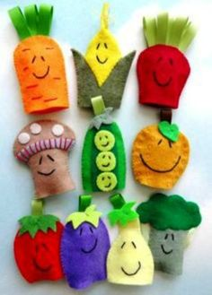 Most recent Images hand sewing patterns Tips Vegetable Felt Finger Puppets Sewing Pattern PDF ePATTERN Kids Crafts, Diy Projects For Kids, Summer Crafts, Felt Crafts, Diy And Crafts, Sewing Projects, Felt Projects, Felt Puppets, Felt Finger Puppets