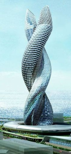 Interesting snake-like building in Kuwait
