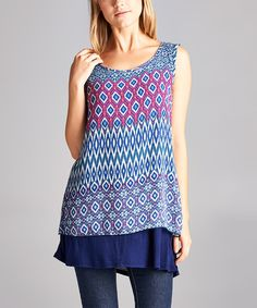 Look at this Blue & Pink Geometric Sleeveless Tunic on #zulily today!