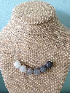 Ombre Gray Cloudy Quartz Bead Silver by SunandStoneJewelry on Etsy