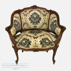 Louis XV walnut antique armchair, late century, made in France and sold by Claudia Collections in Belgium. Louis Xv Chair, Antique Armchairs, French Antiques, Accent Chairs, Collections, Furniture, Things To Sell, Home Decor, Image