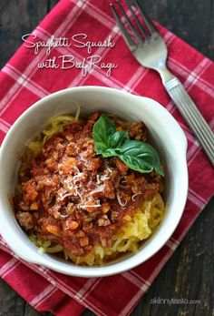 pasta with meat on pinterest | Spaghetti Squash with Meat Ragu