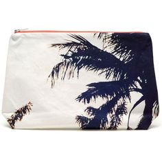 DEZSO Palm printed cotton-canvas clutch ($94) ❤ liked on Polyvore featuring bags, handbags, clutches, accessories, white handbags, white clutches, neon handbags, neon purse and palm tree purse