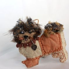 Silly Happy Pekingese-Shih-Tzu Mix Doggy Quilty by QuiltyCritters (Art & Collectibles, Fiber Arts, Embroidery, quilty critter, needlecraft, geekery, novelty, ornament, hand embroidery, folk art, OOAK, art doll, Dog Breeds, Doggy, Pekingese-Shih-Tzu, Shih-Tzu)