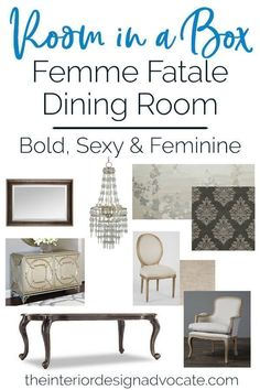 This month, we combined traditional silhouettes with dark and glamorous details to create a space as beautiful and mysterious as the femme fatale herself. The Interior Design Advocate Traditional House, Decoration, Dining Bench, Dining Rooms, Mysterious, Room Inspiration, Silhouettes, Diy Home Decor, Room Decor