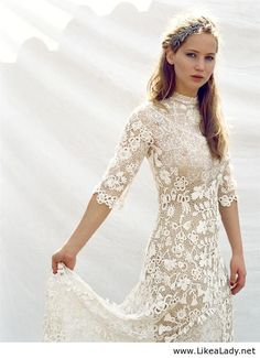 Jennifer Lawrence in lace dress.    Lace is everywhere this Spring 2014. -Penny-