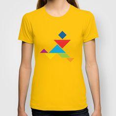 Tangram Running Man T-shirt http://society6.com/