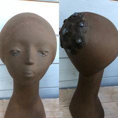 TEKT Estonian Brown Ceramic Bust by Estonian Ceramic Artist Haidi Ratas. Loving the blue details! Ceramic Artists, Ceramics, Detail, Brown, Blue, Ceramica, Pottery, Brown Colors, Ceramic Art