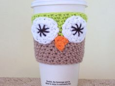 Owl Coffee Cozy / Crochet Cotton Cup Sleeve by amieq on Etsy, $3.50