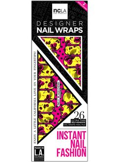 Splashes of yellow and pink electric colors make up this nail wrap set in Mod Cherry