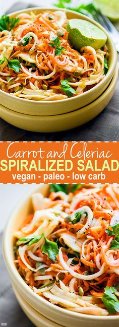 Easy Carrot Celeriac Spiralized Salad! This root vegetablespiralized salad is simple, light,and healthy to make, not to mention delicious! A paleo, vegan, and low carb noodle salad option you can make under30 minutes. All you need are the right spices and oils. Celeriac is light and low carb but extremely versatile!: