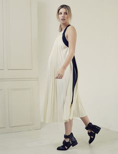Baby London Magazine - Nine in the Mirror maternity fashion shoot. 3.1 Phillip Lim white pleated dress
