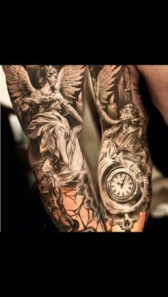 Incredible angel tattoo black and white so much detail .. So beautiful